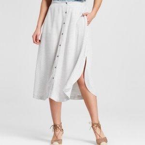 Merona Button Front Navy Stripe Midi Skirt Size M